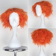 Perruque Cosplay synthétique courte Orange résistante à la chaleur, perruque Alice in Wonderland 2 Mad Hatter Tarrant Hightopp + bonnet de perruque