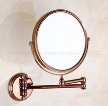 Rose Gold Brass Bathroom Makeup Mirror Double-Sided Round Shape 3x Magnification zba630