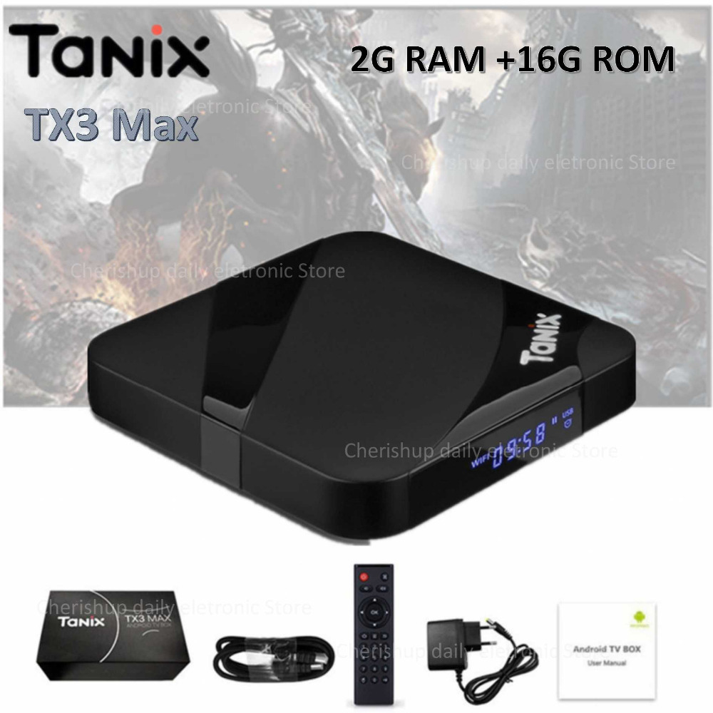 Tanix TX3 Max caja de TV inteligente Android 7,1 Set-top Box HDMI 2,0 H.265 4 K Media Player Amlogic S905W 2 GB 16 GB Bluetooth PK x96 mini