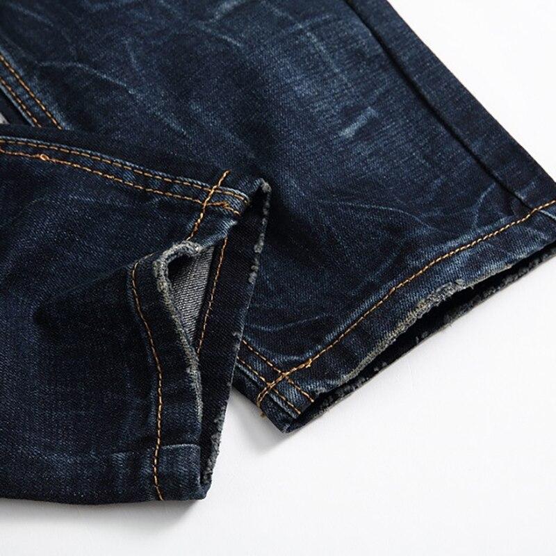 Slim Biker Foncé Sokotoo Fit Plissée De Pantalon Moto Denim À Jeans Straight Hommes Pour Glissière Fermetures Bleu w4Eq81x74