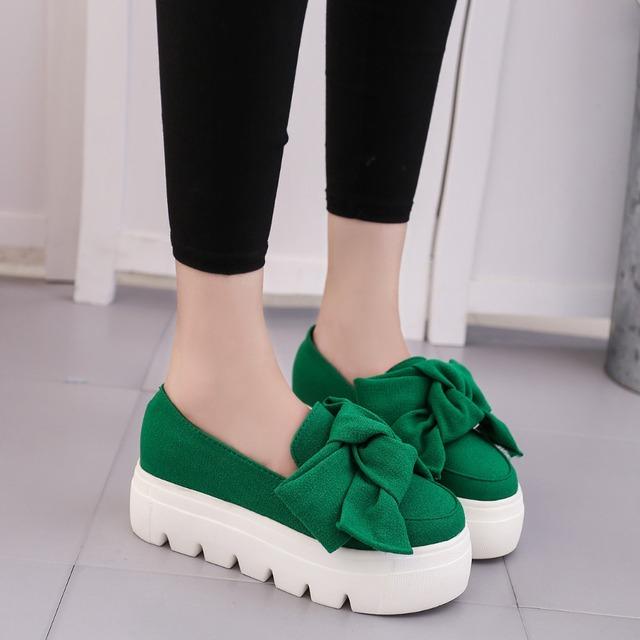 2016 autumn NEW women shoes bowtie muffin heavy-bottomed Platformquality Women Flats fashion loafers women casual ShoesALF221