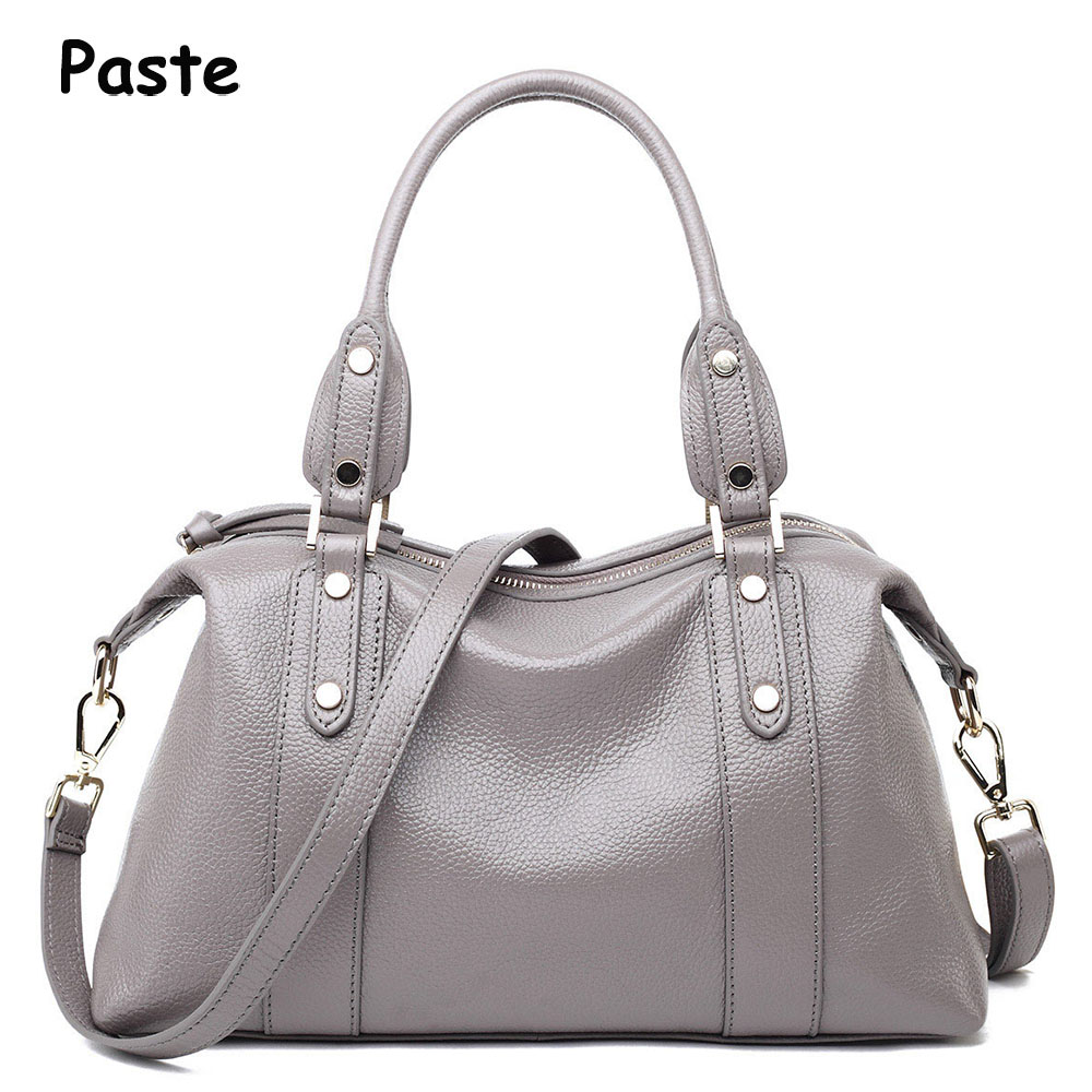 Luxury Genuine Leather Women bag Casual tote Brand soft Natural Cow Leather Handbag Women's Messenger bags Crossbody bag 2017