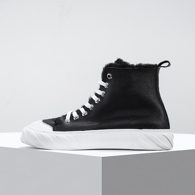Tobillo Owen Nieve Zapatillas Zapatos Pisos De Seak Real Botas Casuales Los Genuino Lujo Hombres Piel Cuero Encaje Negro 7w7Pqgr
