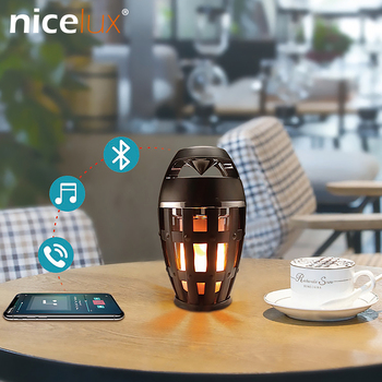 Led 불꽃 스피커 램프 블루투스 스테레오 깜박 거리는 야간 조명 야외 캠핑 시뮬레이션 화재 랜턴 rechargable 분위기 테이블 램프