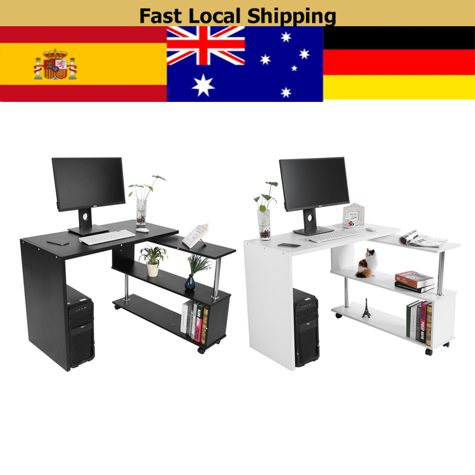 Swell Us 56 08 20 Off L Shape Computer Desk 360 Degree Rotatable Corner Computer Office Desk With Book Shelves Home Laptop Table White Black In Tool Parts Download Free Architecture Designs Estepponolmadebymaigaardcom