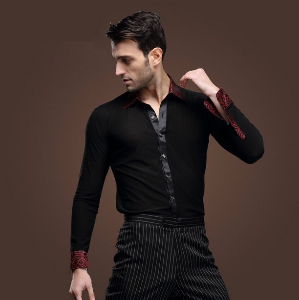 e041cb6fc8a8 Adult mens male boys black color fashion collar latin ballroom dance shirt costumes  men Salsa Tango Samba shirts dance wear