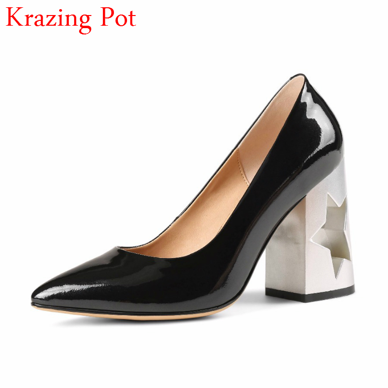 2018 Fashion Brand Shoe Cow Leather Slip on Runway Office Lady Shoes Women Large Size High Heels Shallow Wedding Women Pumps L76 fashion brand slip on shallow round toe crystal bowtie med diamond thick heels women pumps sweet office lady runway shoes l15