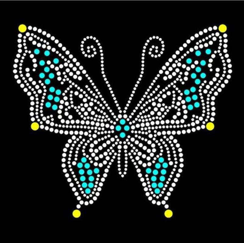 Butterfly sticker hot fix rhinestone transfer motifs iron on crystal transfers design patches iron on patches in Rhinestones from Home Garden