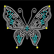 Butterfly sticker hot fix rhinestone transfer motifs iron on crystal transfers design patches
