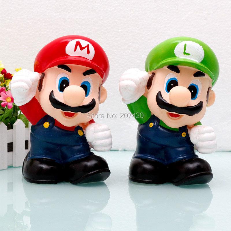 8'' 21cm Anime Cartoon Super Mario Bros Coin Piggy Bank Mario PVC Figure Collectible Model Toys Dolls For Children