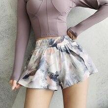 Женские спортивные шорты с цветочным принтом, быстросохнущие, 2 в 1, спортивные шорты для йоги, для бега, спортивная одежда, для фитнеса, тренировки, шорты, женская спортивная одежда