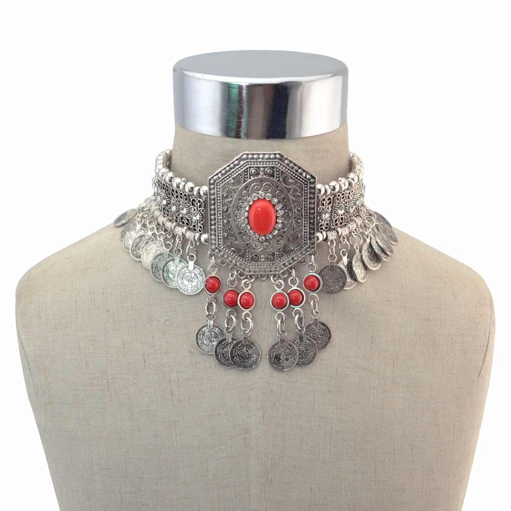 Gypsy Turkish Boho Antique Silver Red Green Stone Choker Necklace with Coin Tassel Ethnic Coin Statement Necklace Bracelet Sets