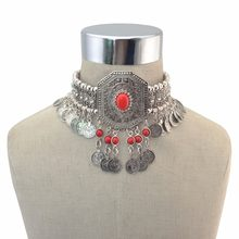 Gypsy Turkish Boho Antique Silver Red Green Stone Choker Necklace with Coin Tassel Ethnic Coin Statement Necklace Bracelet Sets(China)