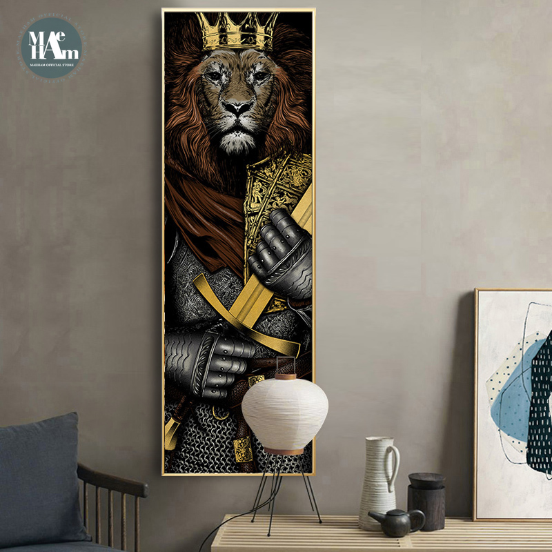 Nordic Knight Tiger Lion Posters And Prints Canvas Art Painting Wall Art Japan Decorative Picture Industrial Bar Style Decor