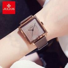 JULIUS แบรนด์สแควร์ขนาดใหญ่นาฬิกาหนังผู้หญิง VINTAGE กันน้ำควอตซ์นาฬิกาข้อมือ Lady Montre Femme ของขวัญ