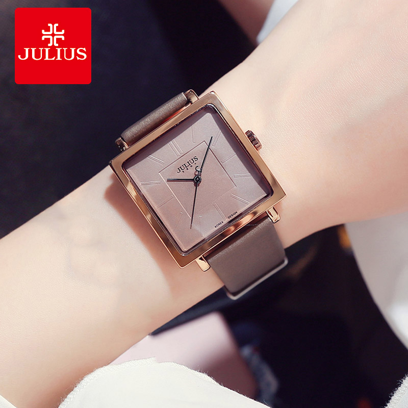 Julius Brand Simple Square Big Dial Leather Watch Woman Vintage Waterproof Quartz Dress Wristwatches Lady Montre Femme Gifts