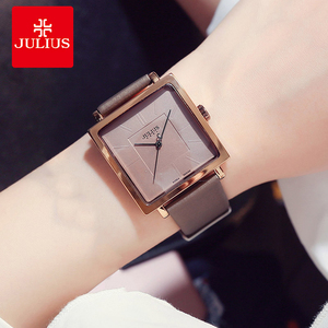 Image 1 - Julius ブランドシンプルなダイヤル革の腕時計の女性ヴィンテージ防水クォーツ時計ドレス腕時計女性 Montre のファムギフト