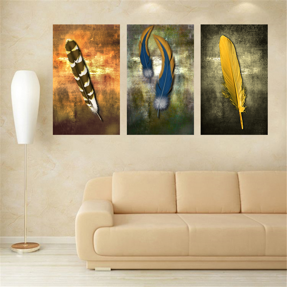 Oil Paintings on Canvas Feather White Modern Abstract Oil Painting Wall Art Home Decor Picture for Living Room Bedroom Gift 3pcs