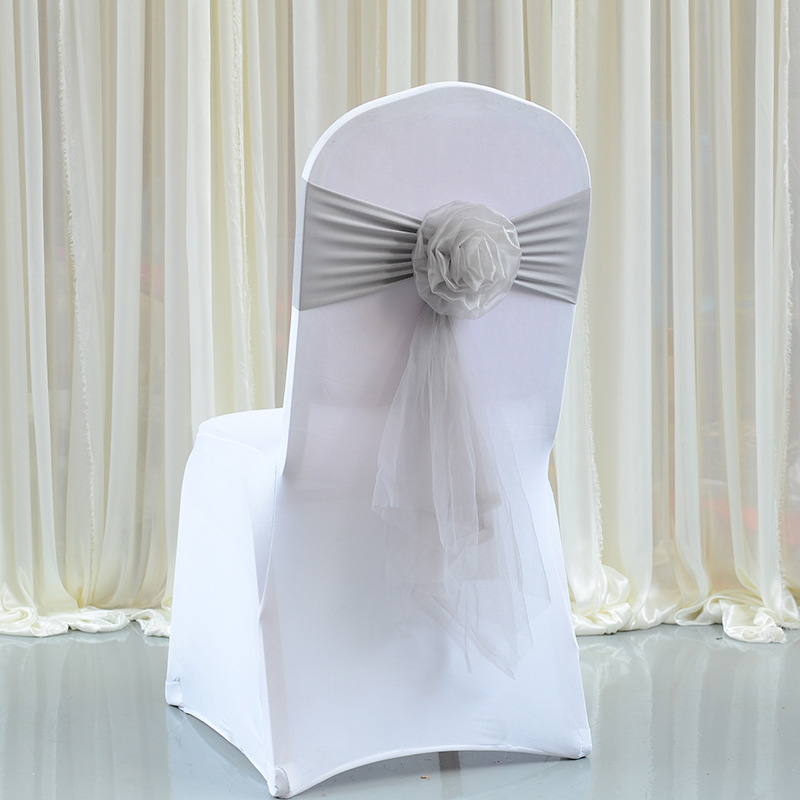 20pc High Quality Silver Chair Sashes Wedding Chair Knot Cover Decoration Chairs Bow Band Belt Ties For Wedding Banquet Supplies