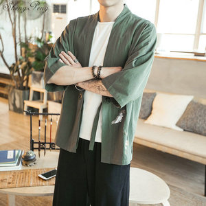 Image 5 - Kimono cardigan men Japanese obi male yukata mens haori Japanese samurai clothing traditional Japanese clothing Q749
