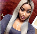Perruques Synthetic Lace Front Wigs Femme Long Grey Wigs Silky Straight Ombre Wig Anime American Wigs Perruque Courte Akatsuki