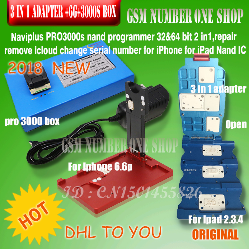 DHL TO IP NAVI PLUS Pro 3000S For Ipad 2 3 4 (or 3 In 1  Adapter) Without Change NAND By NAVI PLUS Pro3000s Bypass ICloud
