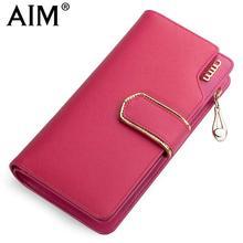 AIM Fashion Long Women Wallet Leather Clutch Purse Female Zipper Hasp Wallets Luxury Brand 2017 New Design Girl Card Holder N101
