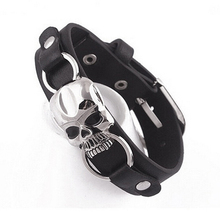 Men's Fashion Faux Leather Bracelet Punk Cuff Skull Wristband Jewelry Charms