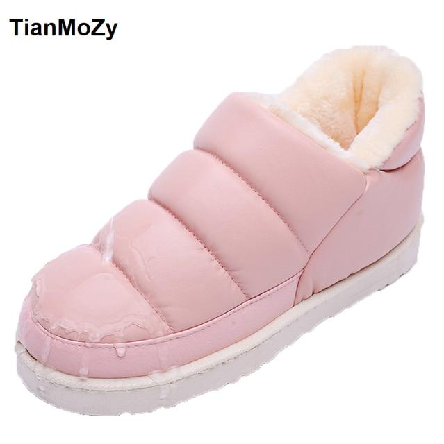 2016 Новая Зимняя обувь женские унисекс искусственная кожа зимние сапоги женская обувь на плоской подошве водонепроницаемые ботинки теплые ботильоны модная женская обувь