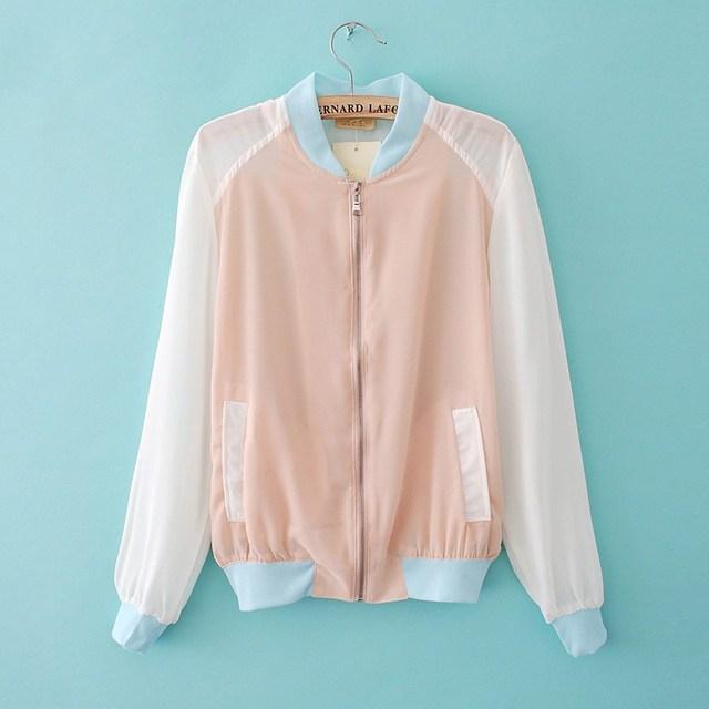 Primavera e verão moda doces cor patchwork bloco de cor projeto curto chaiffon camisa jaqueta do uniforme de beisebol do bebê