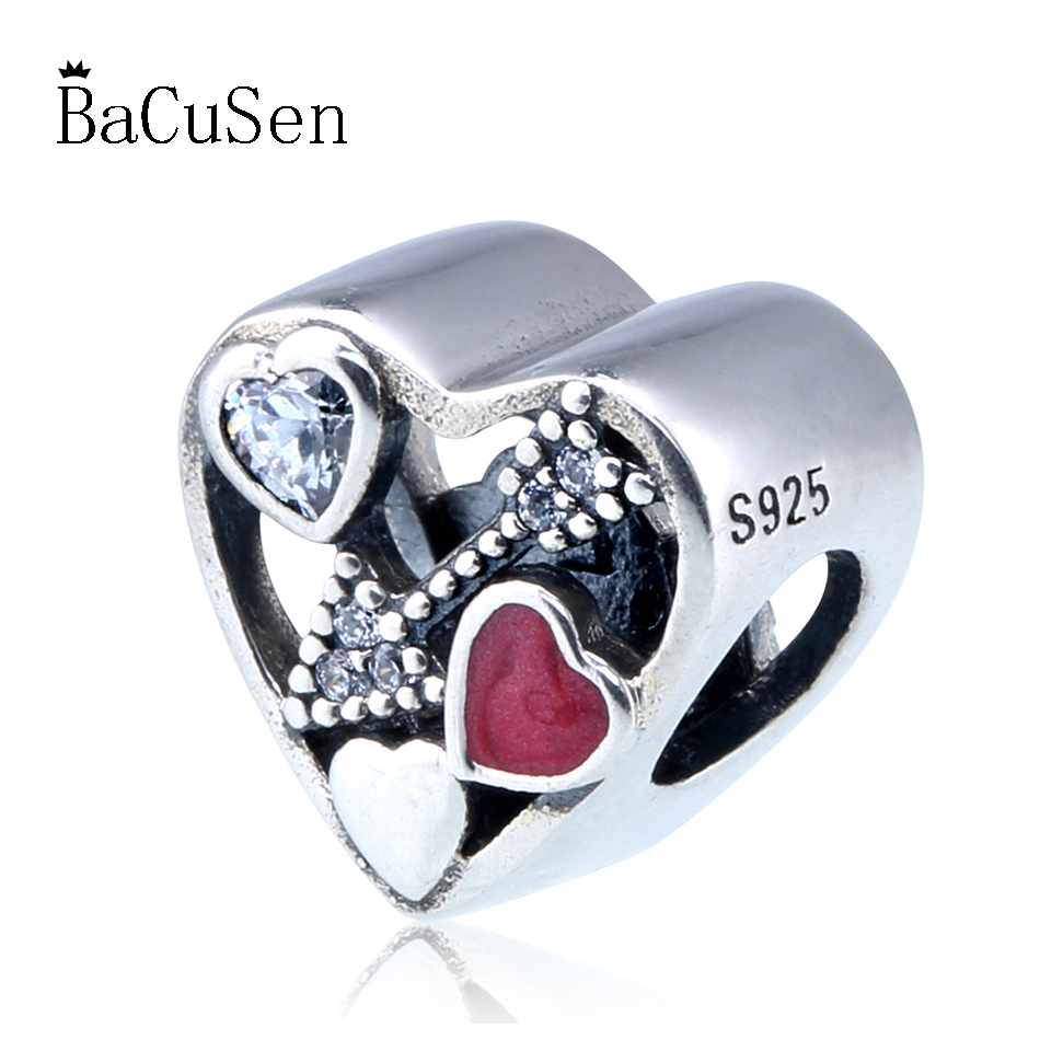 Enamel Struck By Love Crystal Heart Charm For Women DIY Jewelry Making Fit Pandora Bracelet Bangle Authentic 925 Sterling Silver