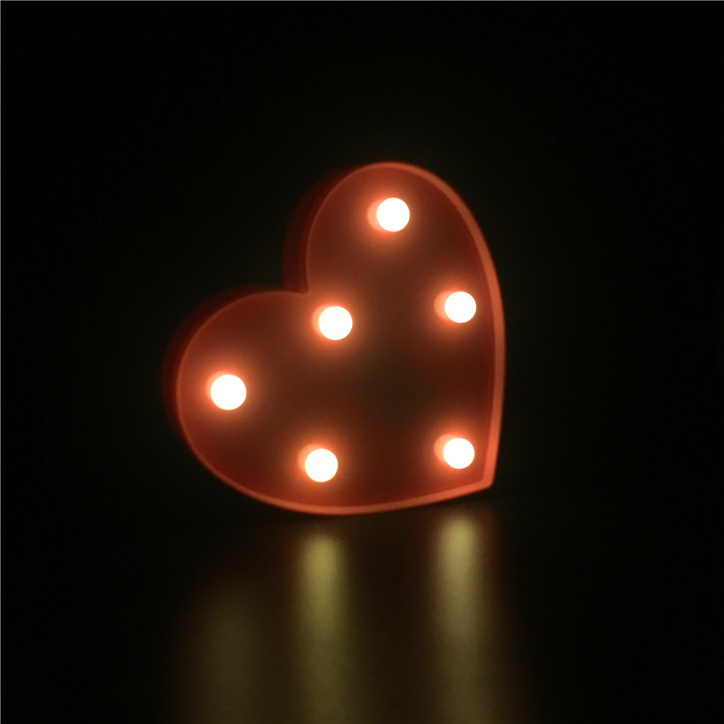 ZESOL Lucu 3D Love Heart Marquee meja LED lampu malam lampu bateri - Pencahayaan perayaan - Foto 4