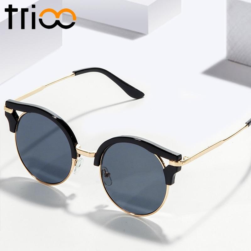 TRIOO მრგვალი სათვალე ქალები სარკის ფერადი ლინზები მზის სათვალეები ქალი ნახევრად უქნარი სათვალე სათვალეები ახალი ლამაზი ქალბატონები ჩრდილები