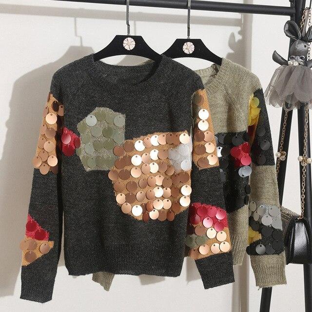 Женские вязаный свитер 2017 круглый воротник с длинными рукавами свободные пуловеры высокое качество леди на осень-зиму блестками свитера