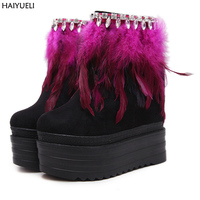 Womens High Heel Boots Fashion Pub Party Shoes Women Black Red Round Toe Platform Ankle Boots