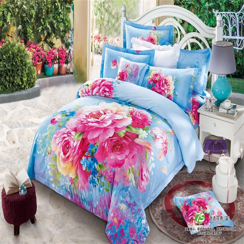 Beautiful Blue and Pink Flower Peony Bedding Set Queen