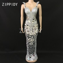 キラキラシルバーラインストーンスパンコールメッシュロングドレス女性の誕生日祝う衣装ナイトクラブの女性歌手セクシーなステージドレス