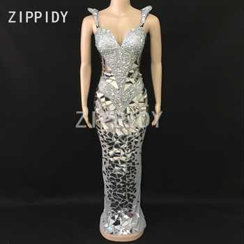 Sparkly Silver Rhinestones Sequins Mesh Long Dress Women's Birthday Celebrate Outfit Nightclub Female Singer Sexy Stage Dress - DISCOUNT ITEM  15% OFF All Category