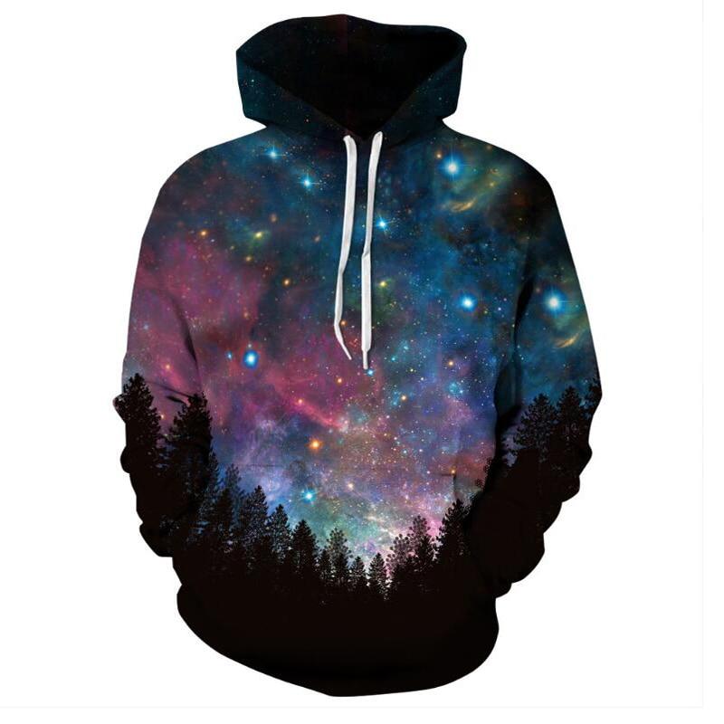 PLstar Cosmos Men/women Harajuku 3D Printed Sweatshirt Hoodie Forest Blue Red Galaxy Space Jacket Long Sleeve Hip Hop Pullovers