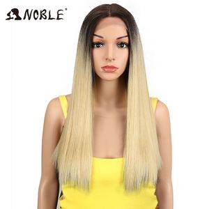 Noble Synthetic Hair Lace Front Wig 20 Inch long Lace Front Straight Synthetic Wigs for Women Heat Resistant blonde lace Wigs