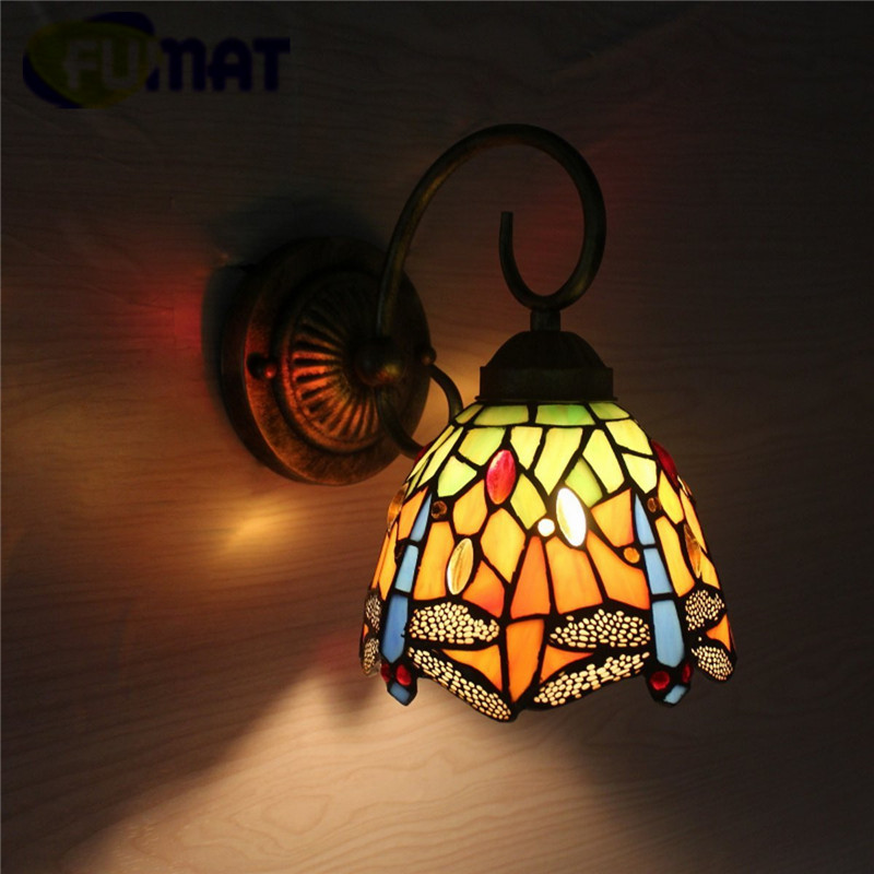 """Image 2 - FUMAT Tiffany Wall Lamp LED Sconces Stained Glass Luminaria Corridor Light Dragonfly Mirror Front Lamp E14 6"""" Passage Wall Light-in LED Indoor Wall Lamps from Lights & Lighting"""