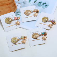 HOCOLE Bohemian Imitation Pearl Metal Hair Clips Women Fashion Star Conch Crystal Hairpins Headdress Styling Accessories