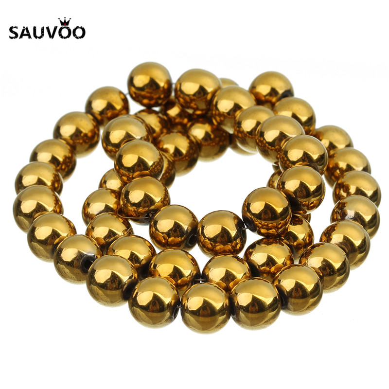 Top quality Natural Stone Gold Hematite beads Round Loose bead Stone ball Pick Size 4/6/8/10MM For Jewelry bracelet Making F3360