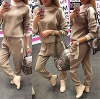 High Quality 2018 Winter women Patchwork fashion suit Long sleeve slim Hooded OL Top and Bottom Slim Warm woman two piece set