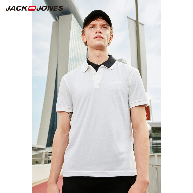 Image 4 - JackJones Men's Cotton&Silk Fabric Pure Color Short sleeved Polo shirt Menswear C219106520-in Polo from Men's Clothing