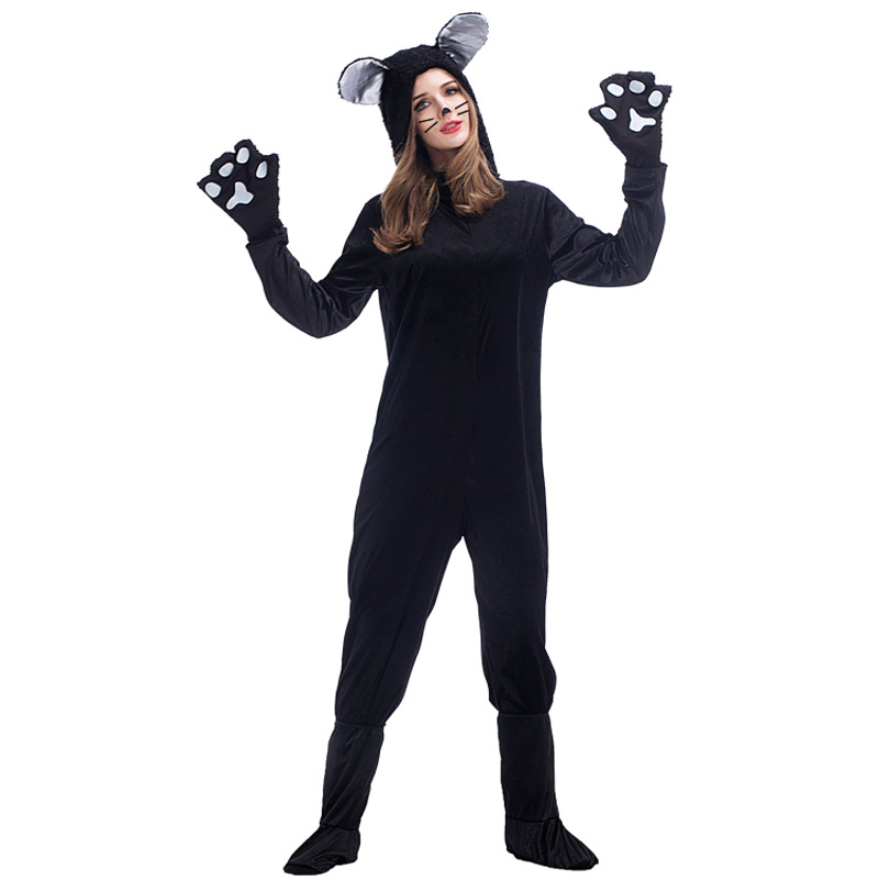 Umorden Halloween Purim Party Animal Black Cat Costumes XL Plus Size Loose Cat Woman Catsuit Costume Cosplay Jumpsuit for Women