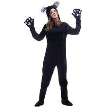 Umorden Unisex Black Cat Costumes Plus Size Loose Woman Catsuit Costume Cosplay Jumpsuit for Women Men Halloween Carnival