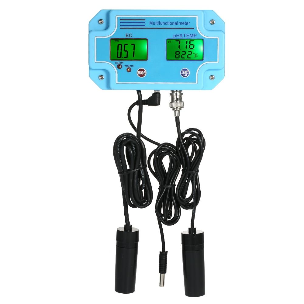 Professional Digital 3 in 1 pH EC TEMP Meter Water Quality Monitor Detector LCD Tri Meter