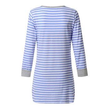 Women's Long Sleeve Button Nursing Nightie Stripes Maternity Breastfeeding Dress hamile gecelik maternity hot pajamas nightwear 2