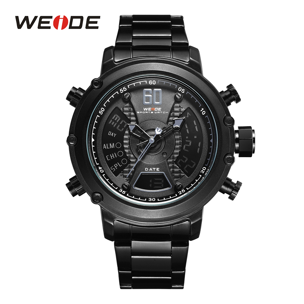 WEIDE Analog and LCD Dual Display Sport Top Brand Hardlex Japan Quartz Movement Army Auto Date Stop Watch Men Male Wristwatches weide men sport watch black nylon strap quartz movement military watch analog round dial hardlex buckle mens clock wristwatches